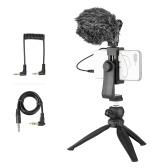 Kit di registrazione video per telefono cellulare Supporto per telefono treppiede da tavolo Microfono a condensatore cardioide direzionale