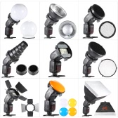 9 in 1 Speedlite accessori Kit con adattatore di montaggio universale / paraluce / Softbox 20 * 30cm / 2 Honeycombs / Mini riflettore conico Snoot / diffusore sfera / 4 filtri di colore