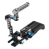 FOTGA DP500III 2 in 1 Standard Rosette ENG Handle Cage + Shoulder Rig Including Shoulder Pad + Handgrip + Baseplate + 15mm Rod Rail Video Stabilizer Movie Film Making System Kit for Canon Sony Nikon DSLR Camera Camcorder