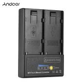 Andoer NP-F à la plaque d'adaptateur de conversion de batterie V-Mount avec double fente pour la série NP-F550 NP-F750 NP-F970
