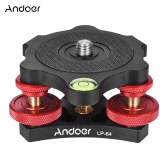 "Andoer LP-64 Tripod Leveling Base Tri-wheel Precision Leveler with Bubble Level 3/8"" Screw Aluminum Alloy Max. 15kg/33Lbs"