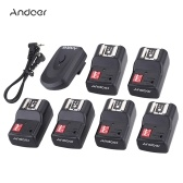 Andoer 16 Channel Wireless Remote Flash Trigger Set 1 Transmitter + 6 Receivers + SYNC Cord 30m/98.4ft Range for Canon Nikon Pentax Olympus Sigma Sunpak Vivitar Neewer TT560 Andoer AD-560II YongNuo Speedlite with Universal Hot Shoe