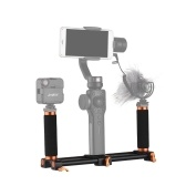 Andoer Dual Handheld Grip Bracket Kit Gimbal 1/4 Pulgadas Screw Mounts Extended Handle para Zhiyun Feiyu Stabilizer