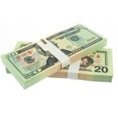 Denominación 20USD Pack USD Paper Bar Atmosphere Props Dinero para Movie TV Video Novedad Fotografía Tools (20Pcs)