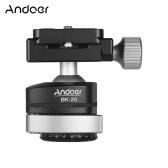 Andoer BK-25 Adaptador de montaje de cabeza de bola panorámica para trípode Sistema de bloqueo rápido 15 kg / 33 lb Capacidad de carga 360 ° Giratoria Aleación de aluminio