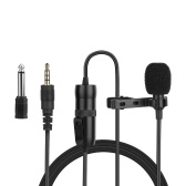 Omni-directional Electret Condenser Lavalier Microphone with 3.5mm TRRS 6m Cable 6.35mm Adapter