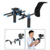 "Aluminum Alloy Video Shoulder Mount Support Rig Stablizer with 1/4"" Screw Mount Slider 15mm Rod Double-hand Handgrip Set C-shaped Holder for DSLR Camera Camcorder"