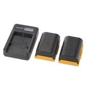 Caricabatterie portatile LED alimentazione con batterie al litio Li-ion ricaricabile di 2pcs 1830mAh LP-E6 per Canon EOS 6D, 7D, 70D, 60D, 5D Mark III & Mark II Digital SLR fotocamera videocamera