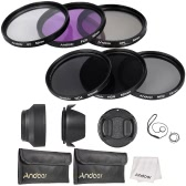 Andoer 52mm Lens Filter Kit UV + CPL + FLD + ND (ND2 ND4 ND8) avec le chiffon Carry Pouch Holder / Cap Lens Cap / Objectif / Tulip & Rubber Parasoleils / Nettoyage