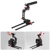 Andoer C字型 映画制作 カメラケージ・ブラケット クイックリリースプレート&15mm ロッド付き Sony A7 A7R A7II ILDC Canon Nikon デジタル一眼レフカメラ用