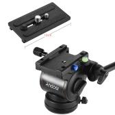 "Andoer Professional Photography Video Head Fluid Drag Tilt Hydraulic Damping Head Base Diameter  60mm/2.4"" w/ Quick Release Plate for Canon Nikon Sony DSLR Camera Tripod Monopod Slider Rail"