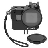 SHOOT XTGP505B Schutzkoffer aus Aluminiumlegierung mit Käfig-Skelettgehäuse mit 52 mm UV-Filter für GoPro Hero 7 Schwarz / Hero 6 / Hero 5 / HERO (2018) Action-Kamera