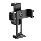 ulanzi Soporte para teléfono de doble abrazadera con doble zapata fría Universal 1/4 rosca de tornillo se adapta como estándar de montaje para transmisión en vivo