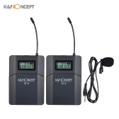K&F CONCEPT M-8 UHF Wireless Lavalier Lapel Microphone System with Transmitter Receiver