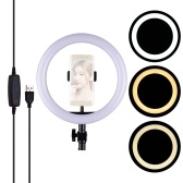 26cm / 10inch LED Ring Light Photographie Lampe d'appoint 3 modes d'éclairage Luminosité réglable Alimenté par USB