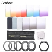Andoer 13pcs Square Gradient Full Color Filter Bundle Kit for Cokin P Series with Filter Holder + Adapter Ring(52mm / 58mm / 62mm / 67mm / 72mm ) + Storage Bag + Cleaning Cloth