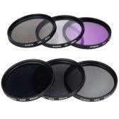Andoer 55mm Lens Filter Kit UV + CPL + FLD + ND (ND2 ND4 ND8) avec le chiffon Carry Pouch Holder / Cap Lens Cap / Objectif / Tulip & Rubber Parasoleils / Nettoyage