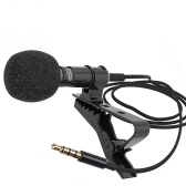 Mini Clip-on Lavalier Microphone Lapel Condenser Mic with 3.5mm Plug