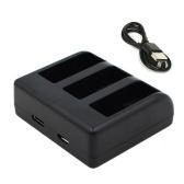 Зарядное устройство для экшн-камеры, 3 слота, быстрая зарядка, USB Type-C и вход Micro USB