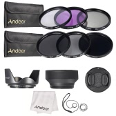 Andoer 58mm Lens Filter Kit UV + CPL + FLD + ND (ND2 ND4 ND8) avec le chiffon Carry Pouch Holder / Cap Lens Cap / Objectif / Tulip & Rubber Parasoleils / Nettoyage