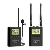 K&F CONCEPTプロフェッショナルワイヤレスラベリアラペルマイクマイクシステム(1トランスミッター+ 1レシーバー)UHFデュアルチャンネルLCDディスプレイスクリーン(DSLRカメラ用)カムコーダーインタビュー録音