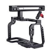 Andoer Camera Cage with Top Handle Grip Video Film Making Stabilizer Aluminum Alloy Quick Release Plate Cold Shoe Mount 1/4 Inch 3/8 Inch Screw Holes Mounting Adapter Compatible with Blackmagic Pocket Cinema Camera 4K/6K BMPCC 4K 6K
