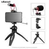 Kit de vídeo para smartphone ulanzi 3, incluindo mini tripé de mesa + suporte para telefone de metal com suporte para sapata fria + microfone de vídeo