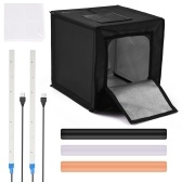 Multifunctional 0.4m LED Light Soft Box Set Portable Photo Lighting Modifier Photography Accessory Softbox with Backdrops