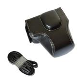 高品質 クレイジー馬革カメラケースバッグ ショルダーストラップ付き Olympus OM-D EM10 E-M10と14-42mm レンズ専用