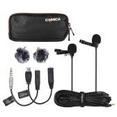 Comica CVM-D02 2.5m/8.2ft Dual-head Lavalier Lapel Microphone