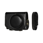 Funda de cuero para cámara con correa para cámara Canon Powershot G7 X Mark II G7X II Negro