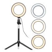 6-Zoll-Mini-LED-Ringlicht-Fotolampe dimmbar 3 Beleuchtungsmodi USB-Stromversorgung mit Teleskopständer Mini-Desktop-Stativkugelkopf für Selfie-Fotografie