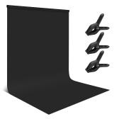Andoer 1,8 * 2,8 m / 6 * 9ft Photographie Fond Écran Portrait Photographie Décors Accessoires de studio photo Matériau en polyester-coton lavable durable avec 3 pinces pour toile de fond, couleur verte