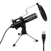 Mini USB Wired Condenser Microphone Mic with Mini Tripod Stand Shock Mount Pop Filter
