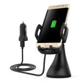 Dodocool Carregador de carro sem fio de carga rápida de 10W Suporte de sucção de ventilação de ar USB adaptador de alimentação 1.5m cabo de carregamento para Samsung Galaxy S8 / S8 + / S7 / S7 borda / Note5 / S6 borda mais compatível com Qi-enabled dispositivos preto