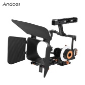 Andoer C500 Aluminum Alloy Camera Camcorder Video Cage Rig Kit Film Making System w/ Matte Box + Follow Focus + Handle + 15mm Rod for Panasonic GH4 for Sony A7S/A7/A7R/A7RII/A7SII ILDC Mirrorless Camera