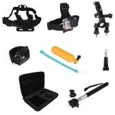 9 en 1 Set de accesorios Kit Kit Pecho / cabeza Correa para la muñeca Monopod monte con estuche portátil para GoPro héroe 1 2 3 3 + 4