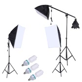 Professional Photography Photo Lighting Kit Set with 5500K 135W Daylight Studio Bulb Light Stand Square Cube Softbox Cantilever Bag
