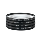 Second Hand Andoer 62mm UV+CPL+Close-Up+4 +Star 8-Point Filter Circular Filter Kit Circular Polarizer Filter Macro Close-Up Star 8-Point Filter with Bag for Nikon Canon Pentax Sony DSLR Camera