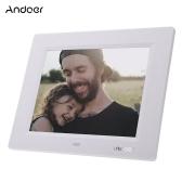 Andoer 8インチ超薄型HD TFT  -  LCDデジタルフォトフレーム目覚まし時計MP3 MP4ムービープレーヤー(リモートデスクトップ付)