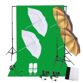 Professional Photography Photo Lighting Kit Set with 45W 5500K Daylight Studio Bulbs Light Stands Black White Green Nonwoven Fabric Backdrop Soft Reflector Umbrellas Backdrop Stands UK Plug 220V