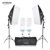 Andoer Photography Studio Cube Umbrella Softbox Light Lighting Carpa Kit Foto Video Equipo 2 * 135W Bombilla 2 * Trípode Soporte 2 * Softbox 1 * Bolsa de transporte para Portrait Product UK Plug 220V