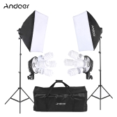Andoer Kit de Iluminación de Foto de Estudio con 2 * Softbox / 2 * 4in1 Bulbo Socket / 8 * 45W Bulb / 2 * Light Stand / 1 * Carrying Bag UK Plug 220V