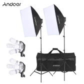 Andoer Studio Photo Lighting Kit with 2 * Softbox / 2 * 4in1 Bulb Socket / 8 * 45W Bulb / 2 * Light Stand / 1 * Carrying Bag UK Plug 220V
