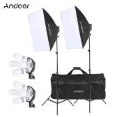 Andoer Studio Photo Lighting Kit with 2 * Softbox / 2 * 4in1 Bulb Socket / 8 * 45W Bulb / 2 * Light Stand / 1 * Carrying Bag UK Plug 220V