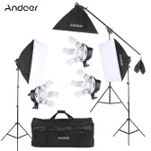Andoerスタジオフォトビデオソフトボックスライティングキット写真機器(15 * 45Wバルブ/ 3 * 5in1バルブソケット/ 3 *ソフトボックス/ 3 *ライトスタンド/ 1 *カンチレバースティック/ 1 *キャリングバッグUKプラグ220V