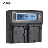 Andoer LP-E6 LP-E6N Doppelkanal-Digitalkamera-Ladegerät mit LCD-Anzeige für Canon EOS 5DII 5DIII 5DS 5DSR 6D 7DII 60D 80D 70D