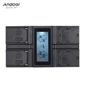 Andoer LP-E6 LP-E6N NP-F970 Cargador de Batería de 4 Cámaras Digitales con Pantalla LCD para Canon 5D 5DS 5DSR 6D 7DII 80D 70D para Sony NP-F550 F750 F950 NP-FM50 FM500H