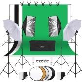 Andoer Photography Kit 1.8m * 2.7m Negro Blanco Verde Poliéster-algodón Telones de fondo 6pcs