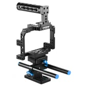 Andoer Protective Video Camera Cage Stabilizer Protector w/ Top Handle/ 15mm Rod Rail/ Baseplate for Sony A7II   A7RII A7SII  ILDC Mirrorless Camcorder